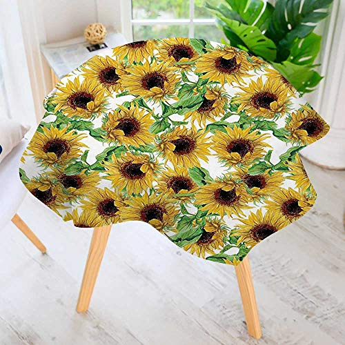 Sunflower Collection Wild (UHOO2018 100% Polyester Printed Table Cloth-Collection Dried Sunflowers Illustration Wildflowers Branch Herbarium Artistic Design Fine Art Ideal for Home, Restaurants, Cafés 40