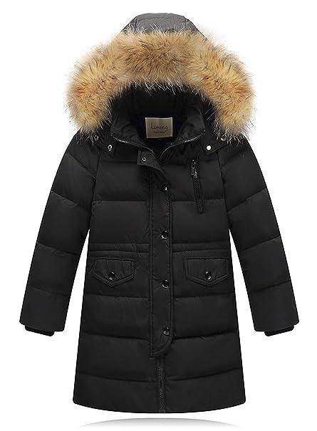 2e3d97a2397a Kids Hooded Down Fur Jackets Girls Winter Warm Jacket Boys Parka ...