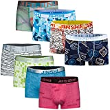 JINSHI Pouch Printed Low Rise Underwear Assorted Colors Boxer Briefs for Men 8 Pack Size 2XL