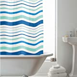 Blue Stripes 180 cm Long PEVA Shower Curtain Screen with 12 C Shaped Rings