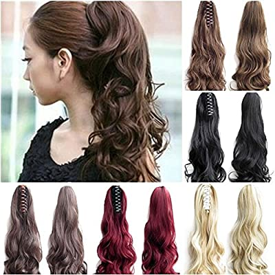 "FUT Womens Claw Ponytail Clip in Hair Extensions 18"" Long Curly Hairpiece"