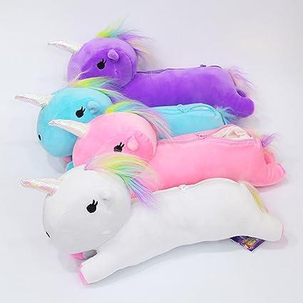 FUYAO - Estuche suave, diseño de unicornio para estudiantes, color blanco: Amazon.es: Oficina y papelería