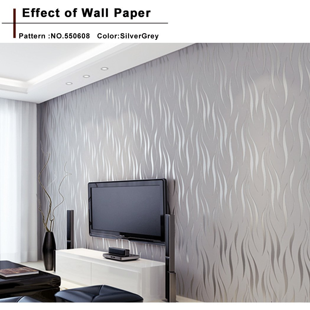 Flagup Wallpaper, 10m Modern Luxury Home Wall Decor Decal Sticker Non-woven 3D Wave Flocking Rolls Wallpaper (Silver Grey)