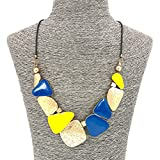 Comelyjewel Fashion Jewelry Girls Long Alloy Gold Yellow Blue Chunky Statement Party Necklace For Women(Gold,Yellow,Blue)