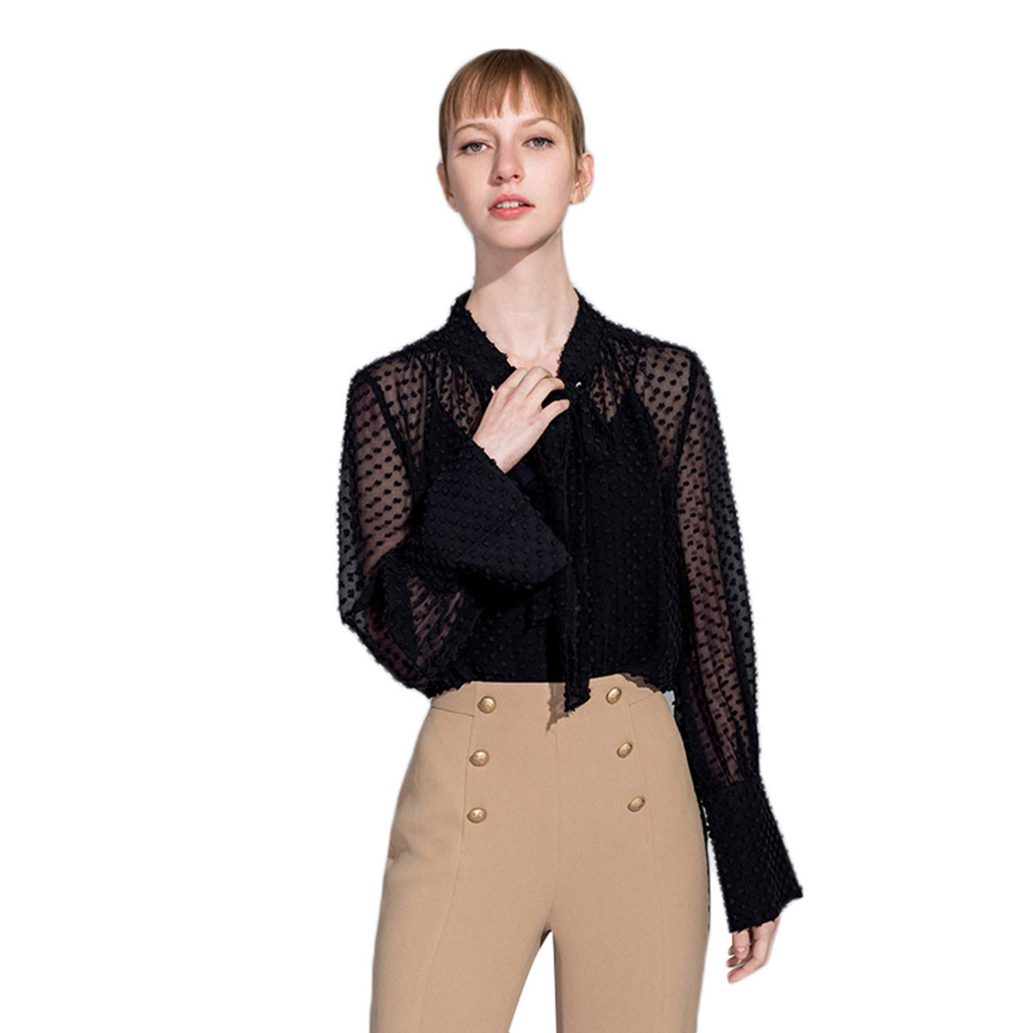 Black Sexy Perspective Shirt, Solid color Polka Dot Print Top, Trumpet Sleeves
