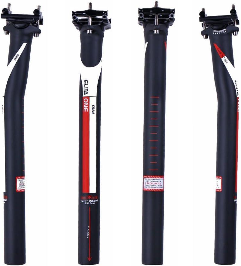 ELITA ONE Full Carbon Fibre seatpost Super Light 125g Offset 0/°//7/° MTB//Road Bike Carbon seatPosts 27.2//31.6/×350//400 mm UD matt red Logo