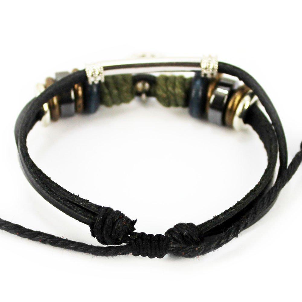 Real Spark Fashion Accessory Black Leather Alloy Tube Beads Peace Sign Pendant Adjustable Wrap Bracelet 1314267