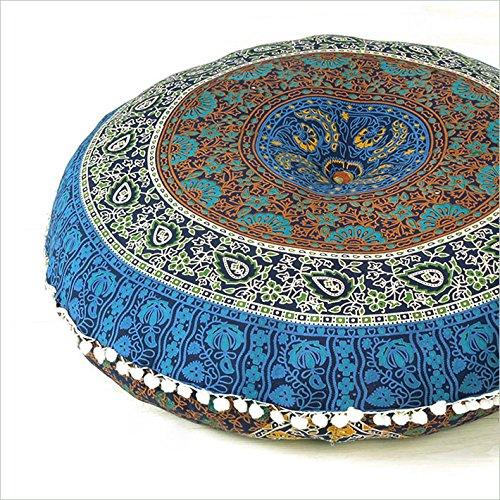 Eyes of India 32'' Blue Floor Pillow Meditation Cushion Seating Throw Cover Mandala Hippie Round Colorful Decorative Bohemian boho dog bed Indian