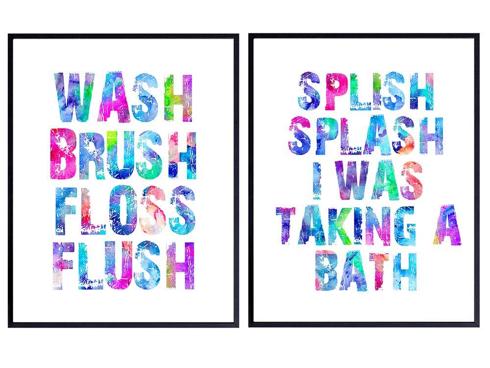 Splish Splash Bath Funny Bathroom Typography Black Poster Print Home Wall Art