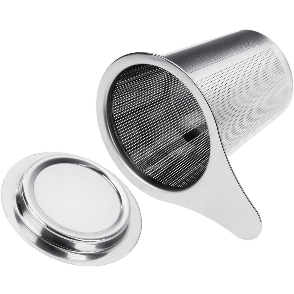 Anpro Stainless Steel Mesh Tea Strainer Filter with Handle & Lid