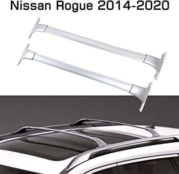 alavente roof rack for nissan rogue 2014 2018 heavy duty cross bars top roof rail roofrack cargo luggage carrier pair silver
