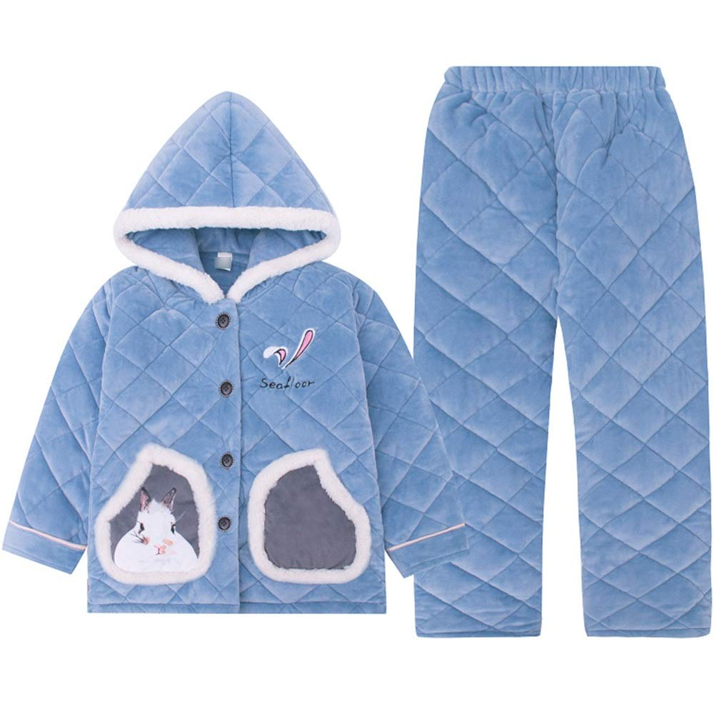 bluee XRXY Pyjamas, Girl Thicken Cotton Pyjamas Winter 3Layer Winter Keep Warm Comfortable Home Clothing Lengthened Printing Hooded Casual TwoPiece Suit, bluee Nightclothes (color   bluee, Size   160cm)