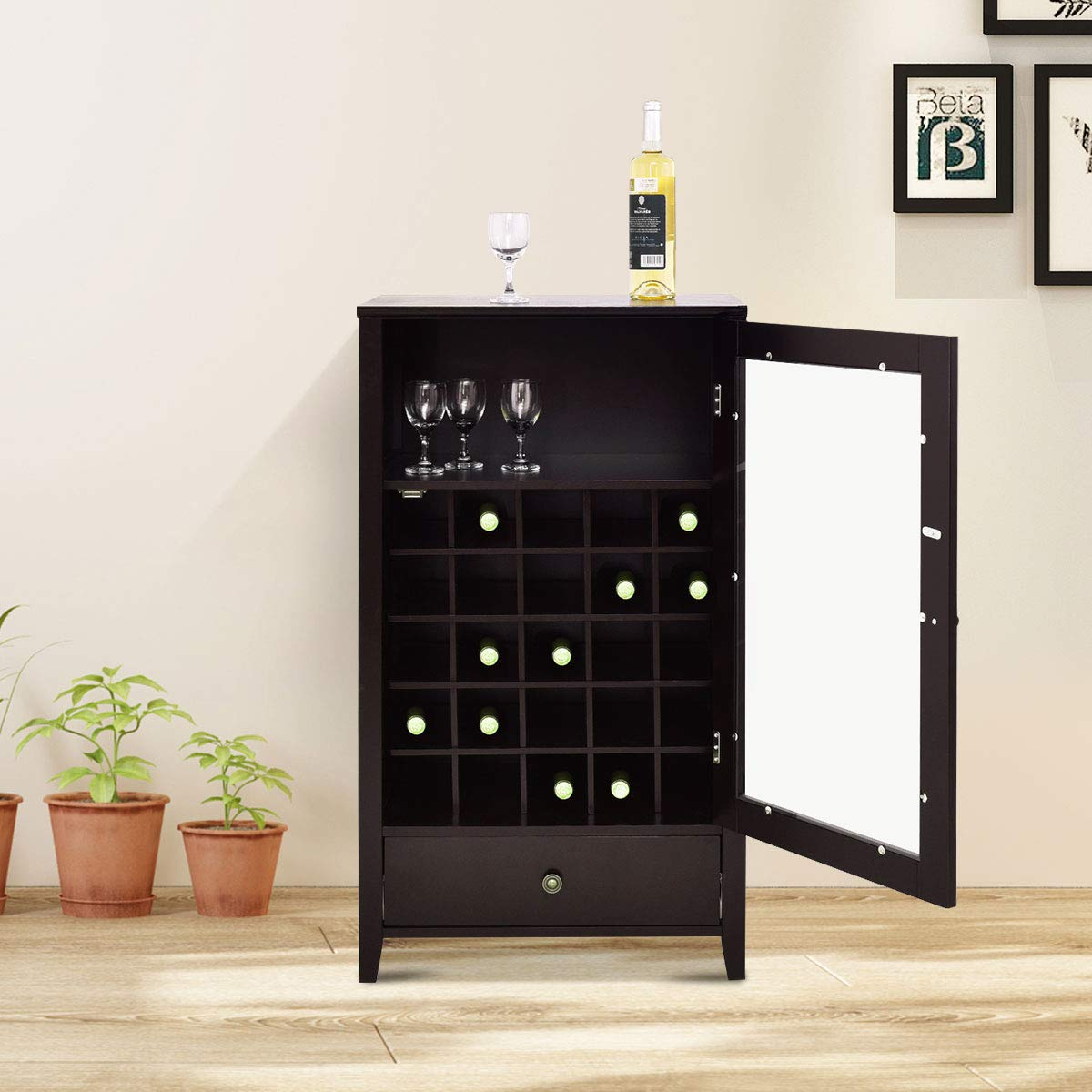 Giantex Wood Wine Cabinet Storage Home Shelf Wine Bottle Holder w/Drawer Brown