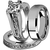 His and Hers Stainless Steel Princess Wedding Ring Set & Beveled Edge Wedding Band