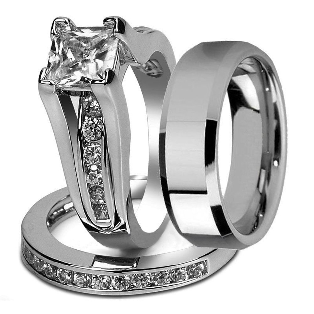 His and Hers Stainless Steel Princess Wedding Ring Set & Beveled Edge Wedding Band Women's Size 08 Men's 06mm Size 08
