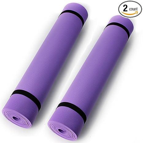 Ezyoutdoor 2pcs 0.4cm thick Yoga Mat Durable Non-Slip Pad Exercise Fitness Blanket, Thick Non-Slip Yoga Mat Pad Exercise Fitness Light Weight Workout ...
