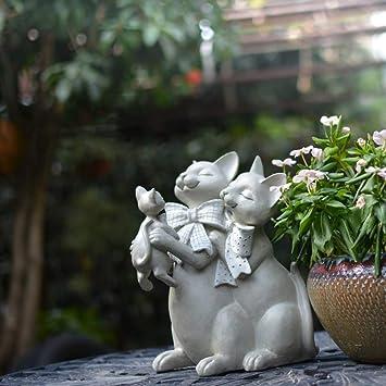 Figura Decorativa para jardín Escultura Creativa Del Gato De Resina Impermeable Estatua Del Jardín Del Césped Del Paisaje Para La Yarda Artesanía Decoración De Regalos - 26 * 18 * 20cm A: