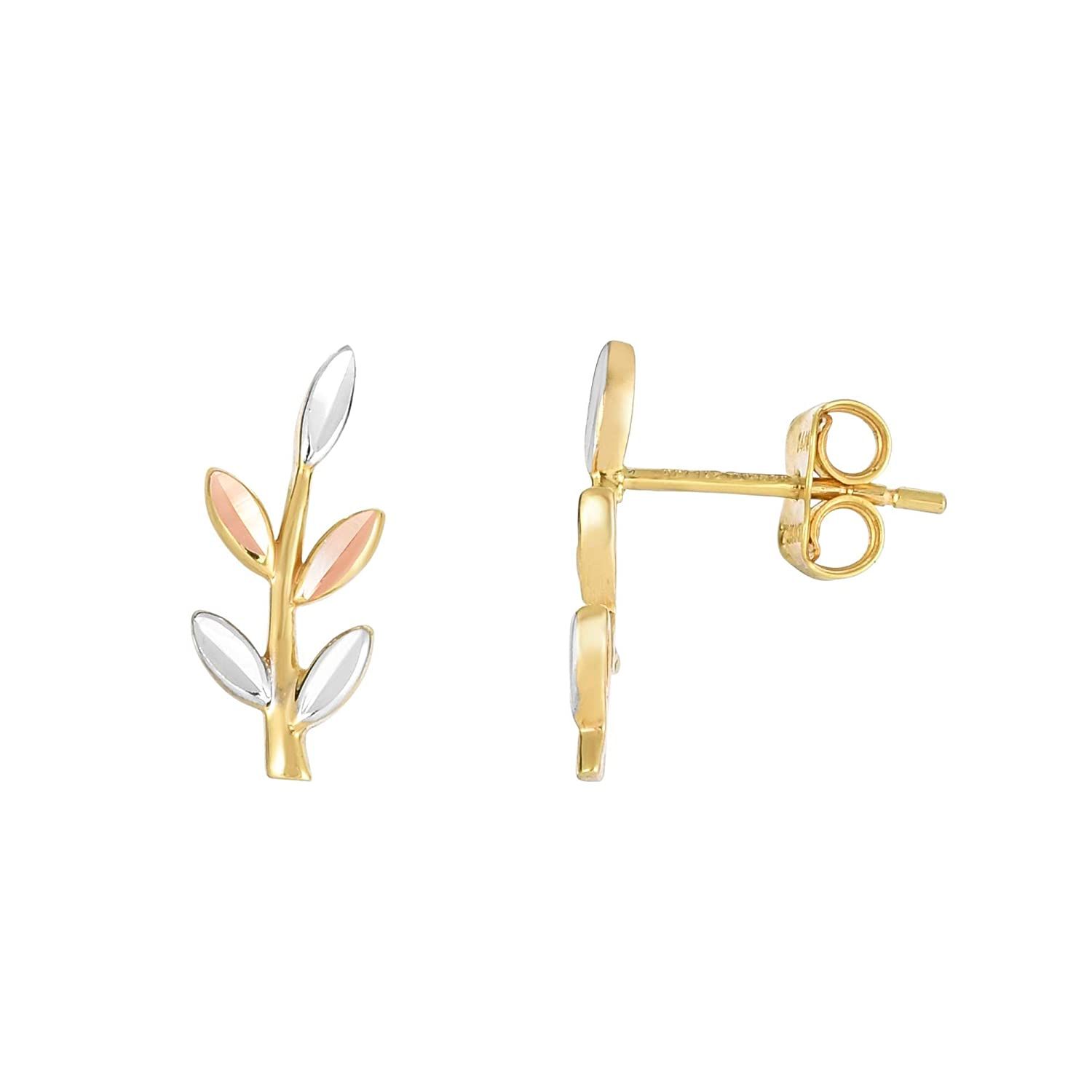 14K Yellow Rose /& White Gold 16x6mm Diamond Cut Tri-Color 5 Leaf Ear Climber Push Back by IcedTime