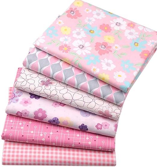 BYY - Lote de 6 piezas de tela de algodón para manualidades, 40 x 50 cm, color rosa: Amazon.es: Amazon.es
