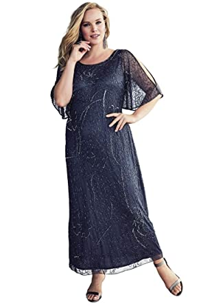 4e50d587d33 Roamans Women s Plus Size Beaded Cold Shoulder Dress by Pisarro Nights -  Dark Blue