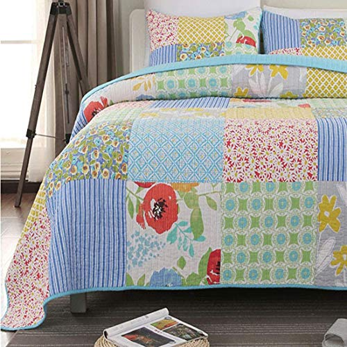 Oliven 100% Cotton Bedspreads Queen Size,Plaid Patchwork Floral Bedspreads Coverlet Set 3 Piece,Lightweight Reversible Quilts Set for Summer - Blue,Queen