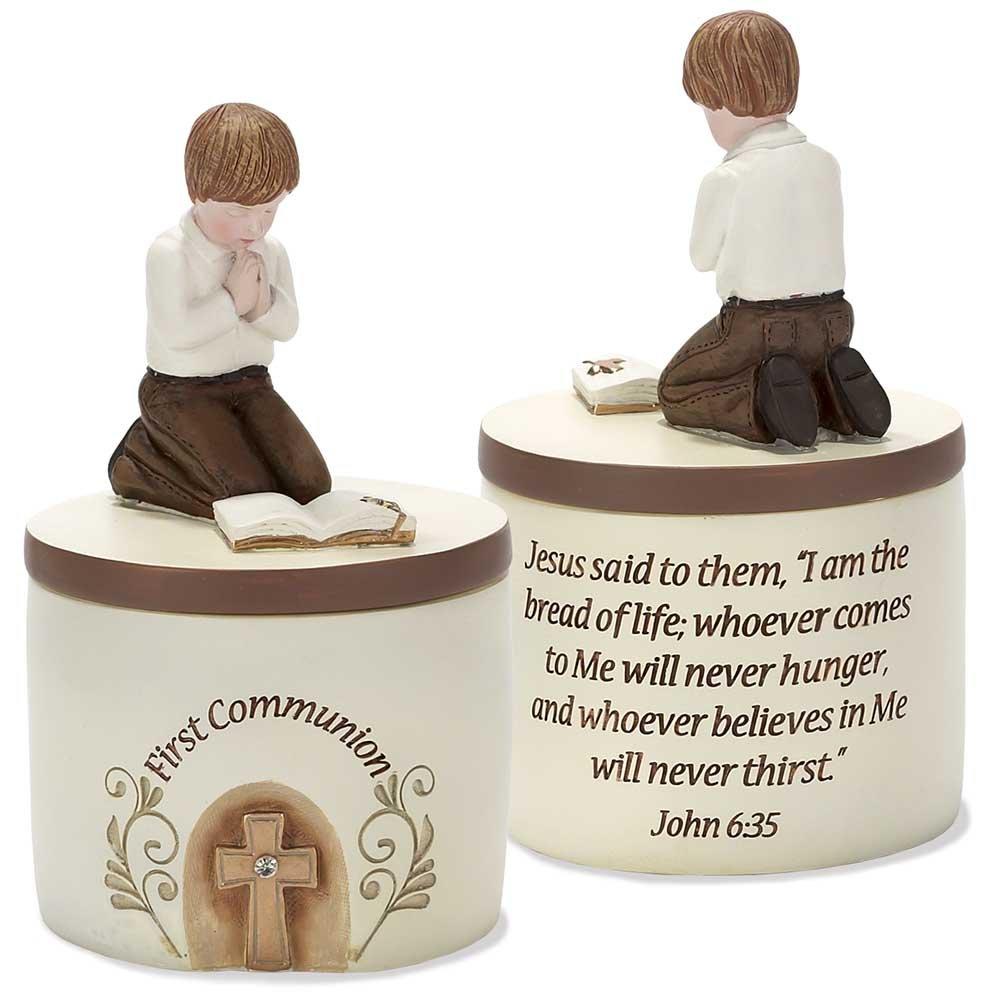 First Communion Praying Boyジョン6 : 35樹脂ストーン5インチ記念品ボックス   B00JEIGUTY