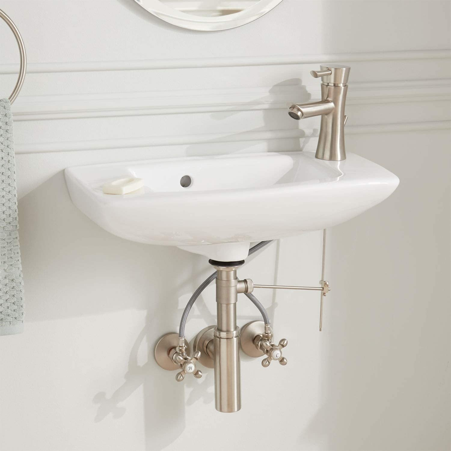 Signature Hardware 276638 Belvidere 20 Vitreous China Wall Mounted Bathroom Sink With Single Faucet Hole Vessel Sinks