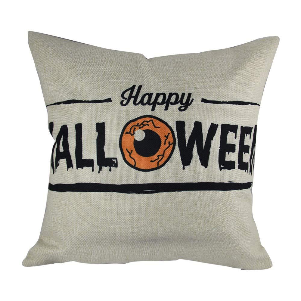 Hongxin 'Happy Halloween' Letter Pillow Cases,1PC 45cm×45cm Cotton Linen Bat Ghosts Cushion Cover Home Decor (B, 45cm×45cm)