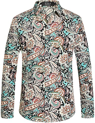 SSLR Men's Paisley Cotton Long Sleeve Casual Button Down Shirt (Large, Aquatic Blue)