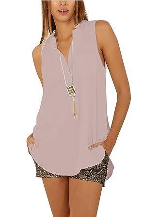 3542f5308cda3 Eliacher Women s Casual Summer Women Blouse Tops Sleeveless Shirt 6640  (S