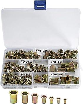 "120 Carbon Steel 8-32 10-24 1//4-20 5//16-18 3//8/""-16 Rivet Nuts SAE Rivnut Nutsert"