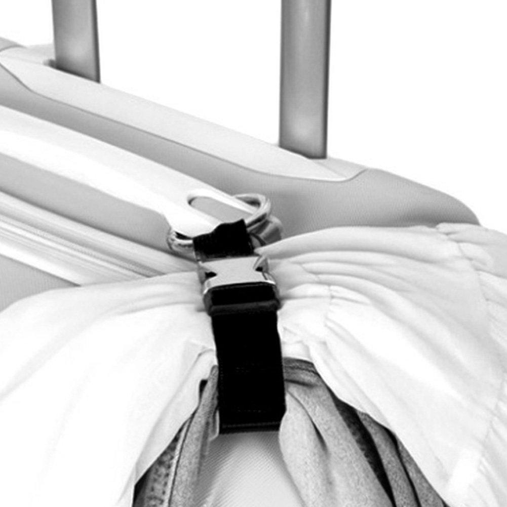 MCUILEE Sangles /à Bagage//Add-A-Bag//Porte-Jacket//Sac /à Main Clip//Ajouter Un Sac de Bagages Sangles//Luggage Strap,Noir