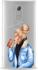 Lex Altern TPU Case Compatible for Sony Xperia 5 II 10 Plus L4 L3 XZ4 XZ3 XZ2 XA3 XA Girl Coffee Lover Clear Blue Print Teen Cover Funny Kid Fashion Chic Slim fit Lightweight Soft Smooth Design Coffee