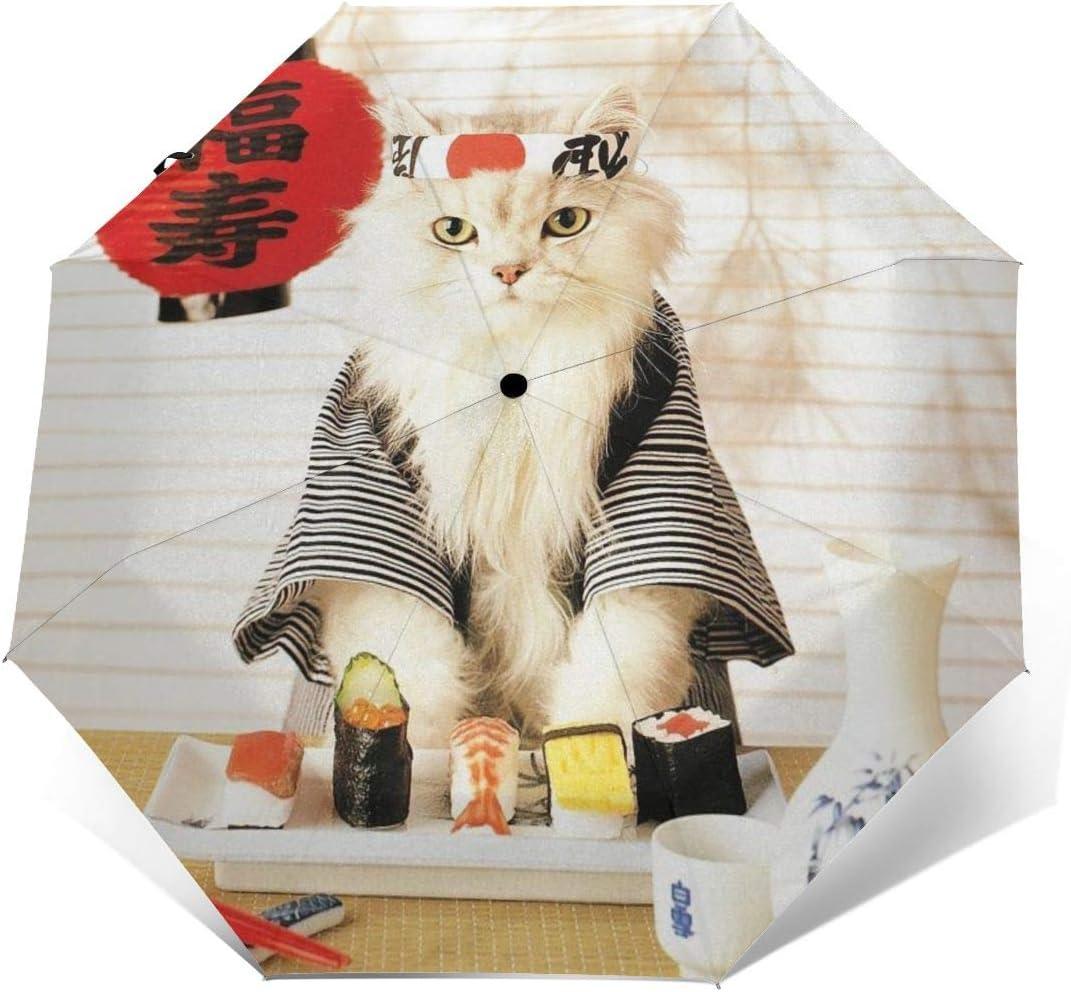 Sushi Cat Japanese Cute Funny Kitten Umbrella Compact Rain/&Wind Repellent Umbrellas Sun Protection With Anti UV Coating Travel Auto Folding Umbrella