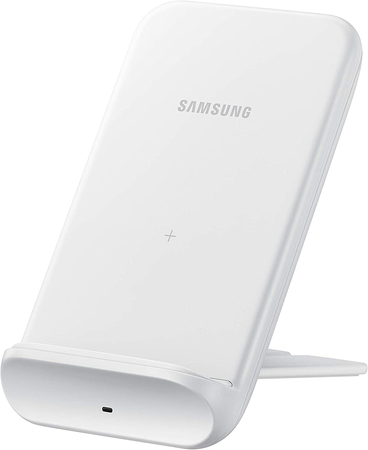 Samsung Electronics Wireless Charger Convertible Qi Certified (Pad/Stand) - for Galaxy Buds, Galaxy Phones, and Apple iPhone Devices - US Version - White (US Version)
