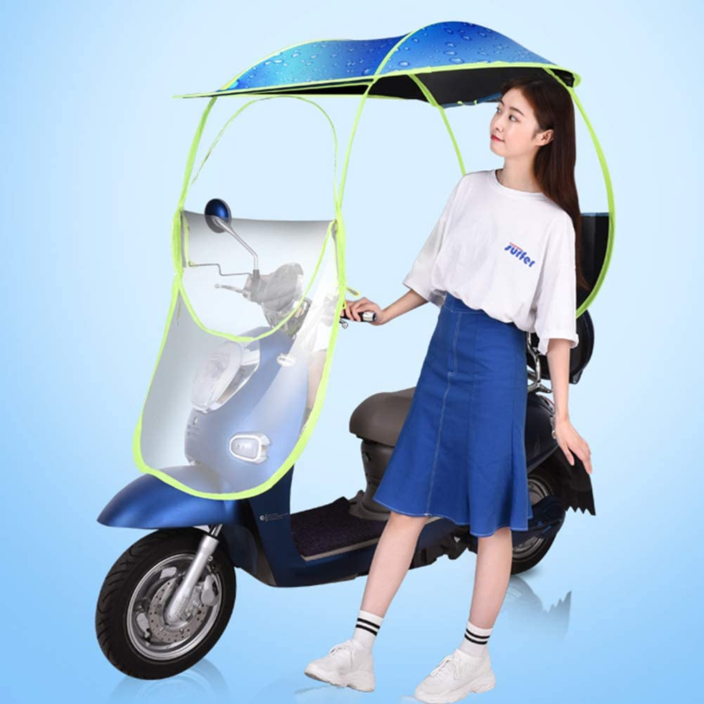 LRKZ Motorcycle Rain Cover,Folding Universal Electric Cycling Bike Sunshade Rain Cover-Waterproof Battery Car Canopy Umbrella,BlueA,M