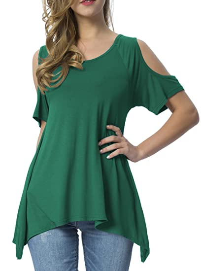07506af03edf Mounblun Women Hollow Out Casual Shirt Short Sleeve Off Shoulder Tunic Tops  Blackish Green S