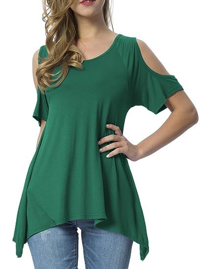 b9cd238d0e6 Mounblun Women Hollow Out Casual Shirt Short Sleeve Off Shoulder Tunic Tops  Blackish Green S