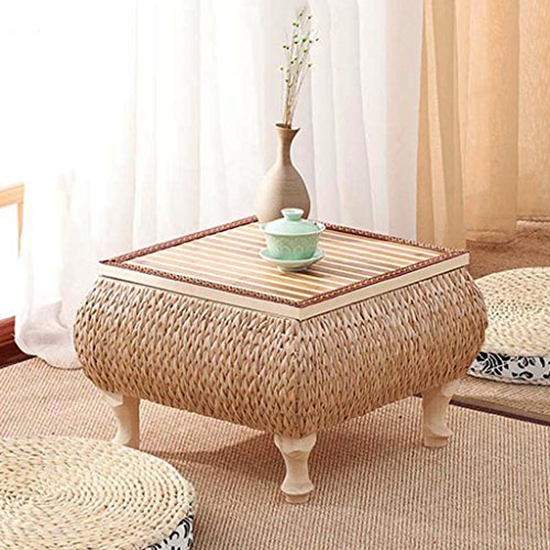 (Chi Cheng Fang Electronic business Coffee Tables Solid Wood Handmade Rattan Tea Table Japanese Balcony Coffee Table Bay Window Learning Table (Size : 434330cm))