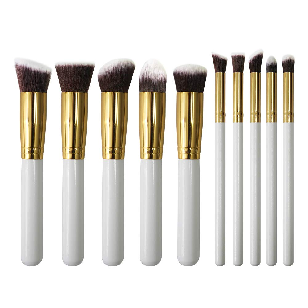 Makeup Brushes Set U'COVER Professional Synthetic Kabuki Foundation/Contour Powder/Conceal/ Eyebrow/Eyeshadow Brush for Face & Eye Makeup Cosmetics Brushes kit (10pcs) - Golden Black JIMEI CO. LTD