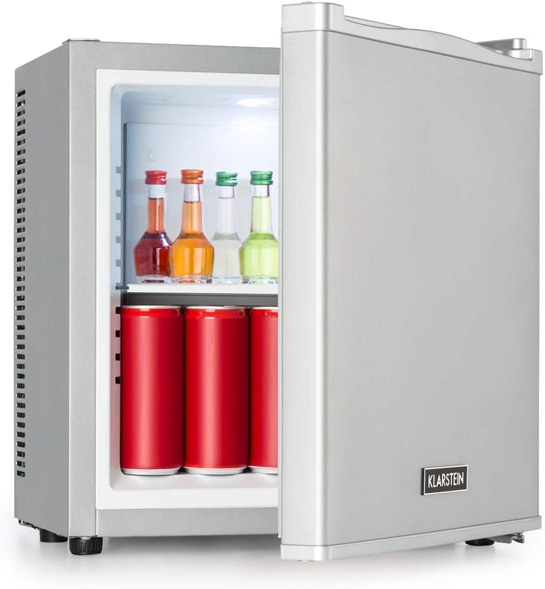 Klarstein Secret Cool Mini Nevera - Clase A+, 13 litros de volumen, 45 cm de altura, 0 dB, Silencioso y sin ruidos, Rango de frío de 5-8 °C, Aislado, Nevera para bebidas,