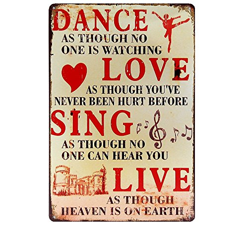 DANCE LOVE SING LIVE Metal Sign Tin Signs Retro Shabby Wall Plaque Metal Poster Plate 20x30cm Wall Art Coffee Shop Pub Bar Home Hotel Decor