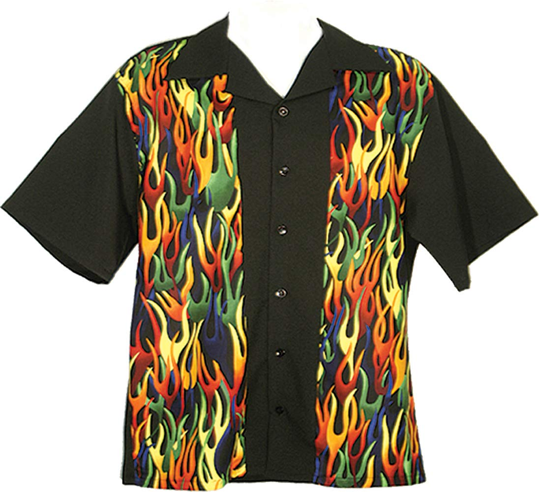 Tutti Retro Bowling Shirt with Flame Front Panels (Large)