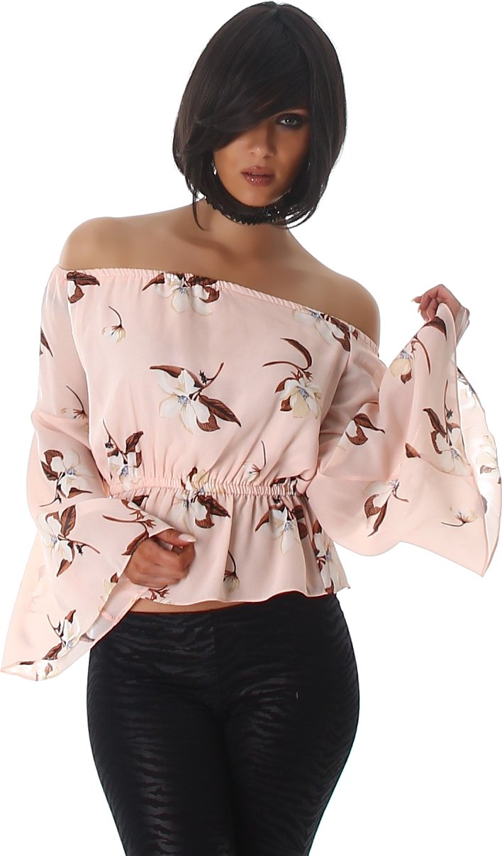 Flor Voyelles camisa de las señoras de la blusa blusas túnica de manga larga con cuello en Pulli Carmen túnica blusa: Amazon.es: Ropa y accesorios