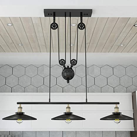 WINSOON Industrial Vintage Chandeliers Pulley 3 Light Pendant Lighting Fixture For Pool Table Farmhouse Kitchen Island Bar Retro Hanging Lamp 3 Heads Black Painted - - Amazon.com