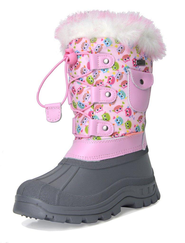 DREAM PAIRS Little Kid Ksnow Pink Owl Isulated Waterproof Snow Boots - 2 M US Little Kid