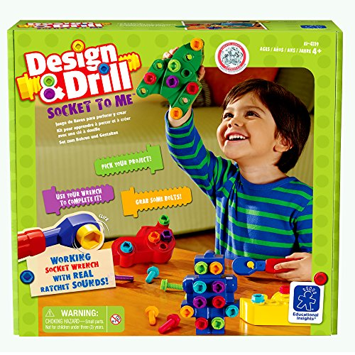 Educational Insights Design & Drill Socket to Me (Race Shapes Robot)