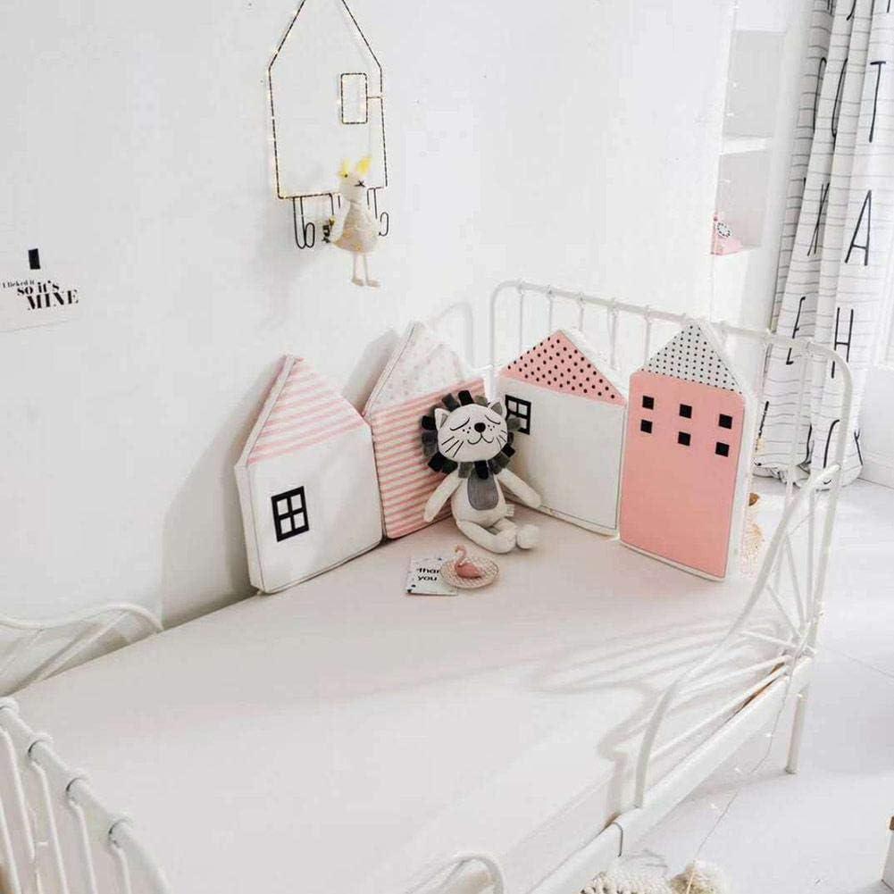 atmungsaktiv Langer Sto/ßschutz f/ür Standardbetten Rose TRULIL Baby Bettumrandung Schutz f/ür Babybett mit Kopfschutz Baumwolle hypoallergen