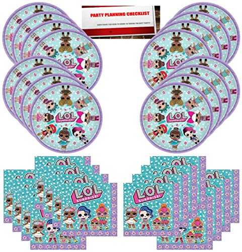 L.O.L. Surprise Party Birthday Supplies Bundle Pack for 16 Guests (Plus Party Planning Checklist by Mikes Super Store)