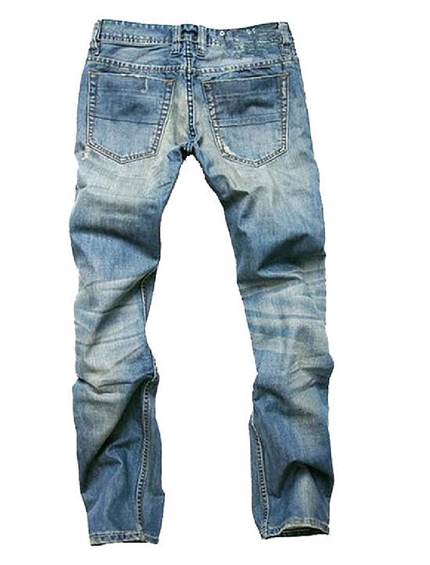 X-Future Mens Ripped Slim Washed Straight Leg Button Front Denim Jeans Pants
